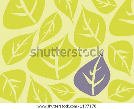 Background image of leaves with one leaf in soft purple - stock vector