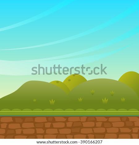 Background in cartoon style Illustration: Cartoon Style. Nature Topic. Scene / Wallpaper / Background Design - stock vector