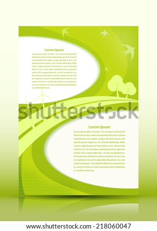 Background in eco style with nature and windmills. Vector illustration.  - stock vector