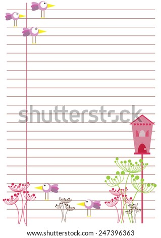 background in line with birds and flowers - stock vector