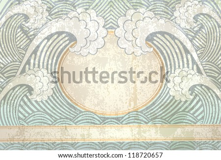 background in retro style with waves - stock vector