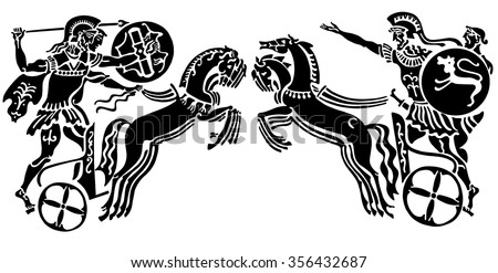 Background in the Greek style. Two chariots with warriors and horses on a white background. - stock vector