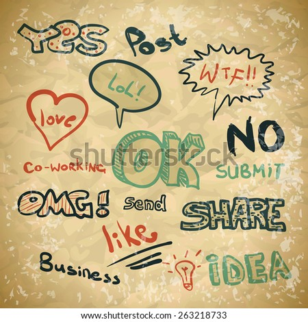 Background in vintage style on the topic of Internet chat - stock vector