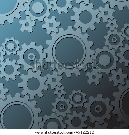 background made from various cogwheels - stock vector