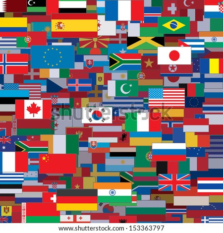 Background Made from World Flags. Vector Template - stock vector