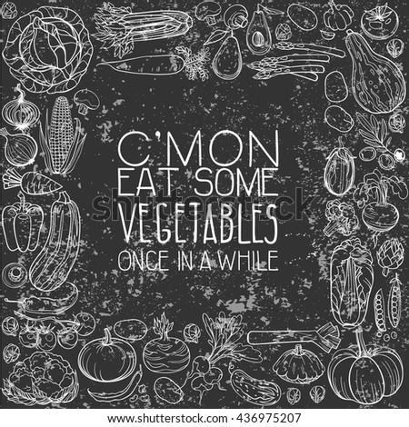 background made of different hand drawn vegetables - stock vector