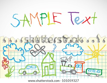 Background made of papers with colorful child drawings symbols - stock vector
