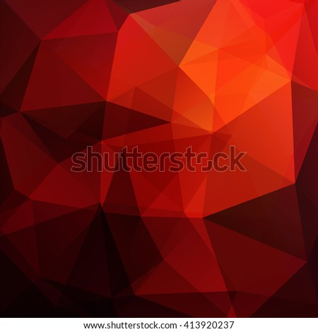Background made of triangles. Square composition with geometric shapes. Eps 10 Black, red, orange colors.  - stock vector