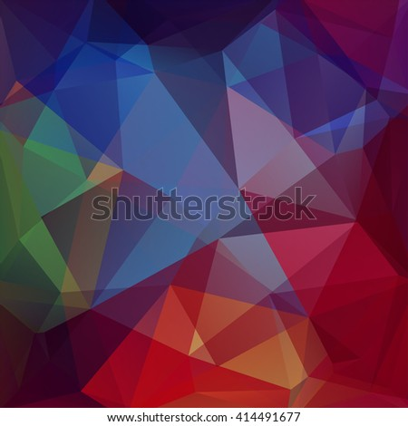 Background made of triangles. Square composition with geometric shapes. Eps 10 Blue, brown, green, red colors.  - stock vector
