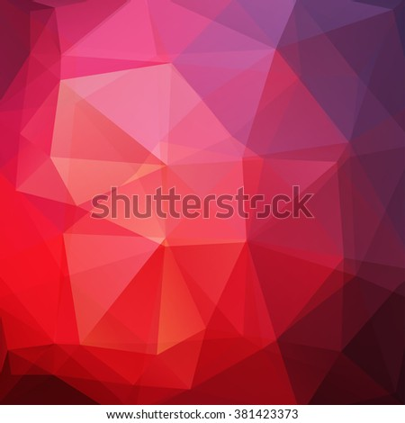 Background made of triangles. Square composition with geometric shapes. Eps 10 Red, violet, puple colors.  - stock vector
