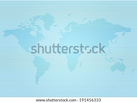 Background map of the world on the horizontal blue bands - stock vector