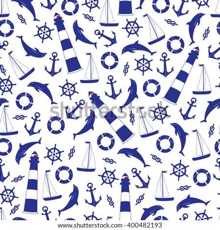 Background Marine objects. Nautical vector isolated set of objects ocean. - stock vector