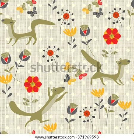 background martens, butterflies and flowers - stock vector
