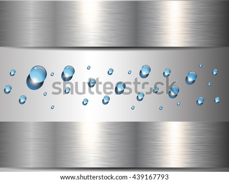 Background metallic banners with blue water drops, vector design. - stock vector
