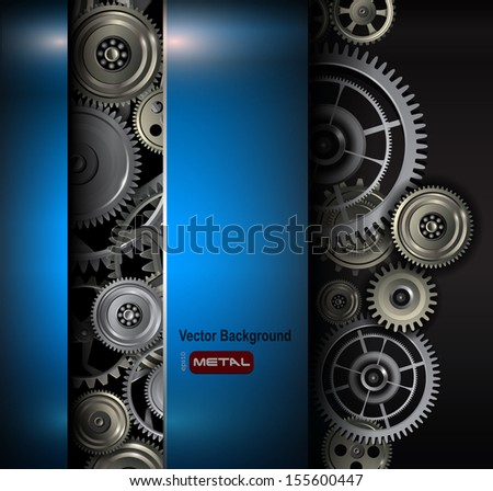 Background metallic gears and cogwheels, technology vector illustration. - stock vector