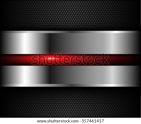 Background metallic with red shiny element over holes pattern, vector illustration. - stock vector