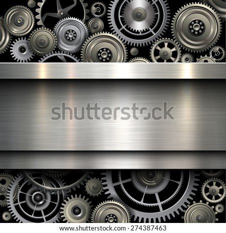 Background metallic with technology gears, vector illustration. - stock vector