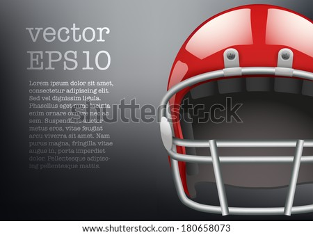 Background of  American football game. Helmet and space for text. Vector sport illustration. Equipment for protection of player. Isolated on background. - stock vector