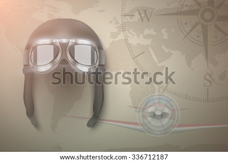 Background of Aviator and light aircraft. Helmet on map.  Editable Vector Illustration. - stock vector