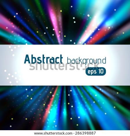 background of blue luminous rays - stock vector