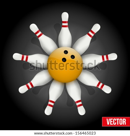 Background of bowling pins and ball with a flower. Vector illustration of sports competitions. Isolated and editable. - stock vector