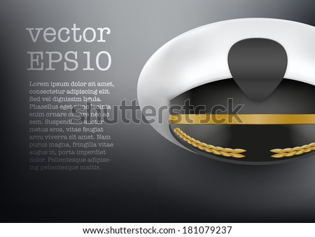 Background of captain peaked cap with empty cockade vector illustration isolated on white background EPS10. - stock vector