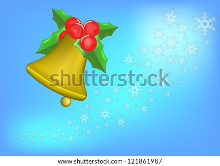Background of christmas bell and white snow . - stock vector