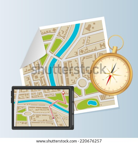 Background of city districts map with compass and navigation - stock vector