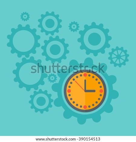 Background of cogwheels and clock mechanism. - stock vector