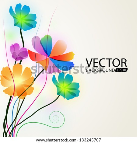 Background of colorful flowers - stock vector