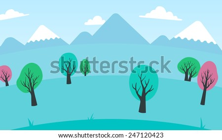 Background of colorful trees in a spring landscape with snow-capped mountain peaks under a blue sky with fluffy white clouds, vector illustration - stock vector