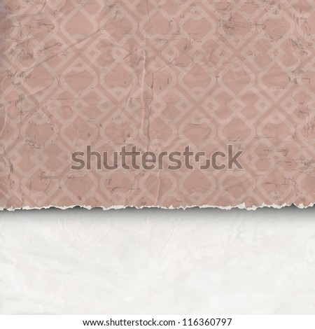 Background of crumpled torn paper. Vector eps10 - stock vector