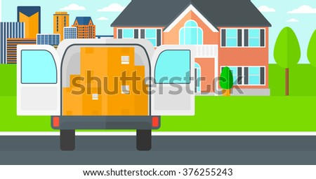 Background of delivery truck with an open door and cardboard boxes in front of house. - stock vector
