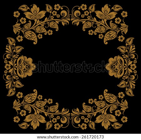 background of floral pattern with traditional russian flower ornament.Khokhloma.  black and gold - stock vector