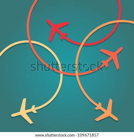 Background of flying planes - stock vector