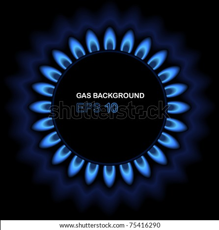 Background of gas flame on black - stock vector