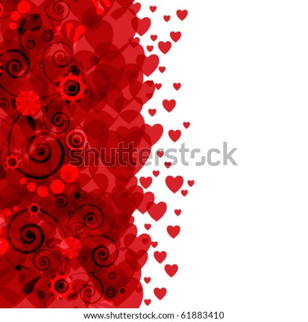 Background of hearts and flowers - stock vector