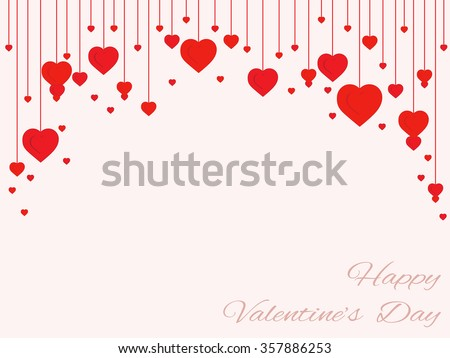 background of hearts on strings - Valentine's Day - stock vector