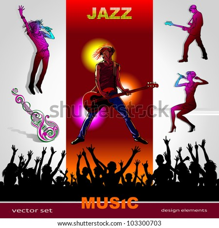 Background of music, set of musicians, singers, party people and band silhouettes, ornament of art guitar; Jazz, Rock, Reggae, blues, country, Rock, Pop, Rap, Hip-Hop styles for design - stock vector