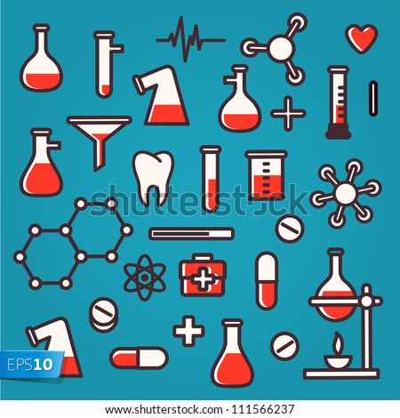 Background of scientific icons with reflection, vector Eps 10 illustration. - stock vector