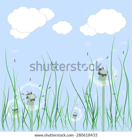 background of sky, clouds and dandelions growing in the grass - stock vector