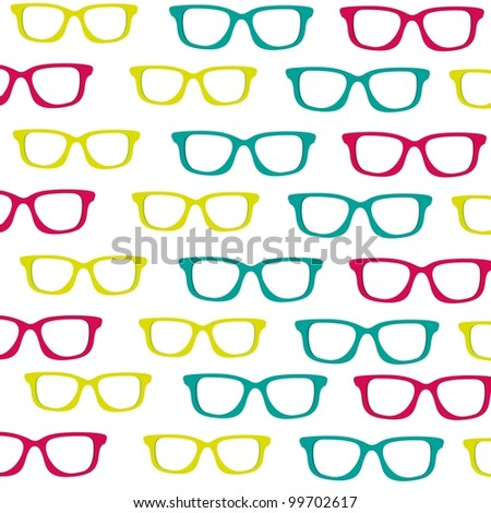 background of small colored glasses silhouettes isolated on white background - stock vector