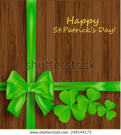 Background of St. Patrick's Day with leaf a clover and bow on wooden surface - stock vector