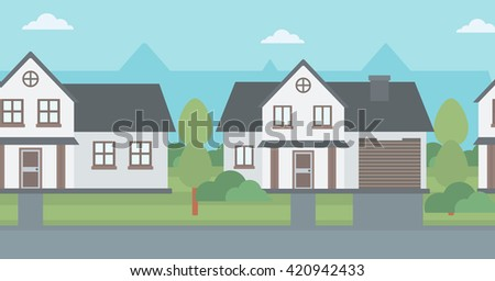 Background of suburban houses. - stock vector