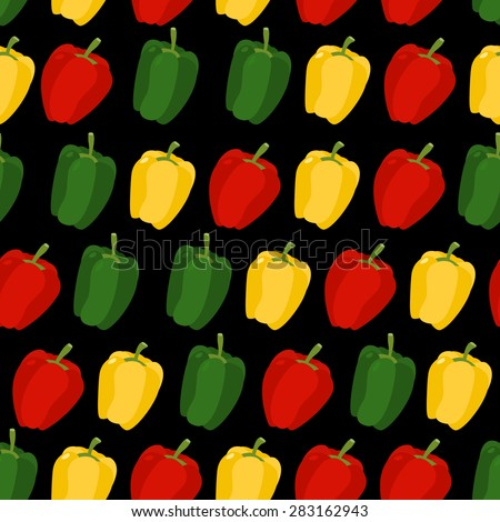 Background of sweet pepper. Vector seamless pattern of vegetables. Vector texture - stock vector