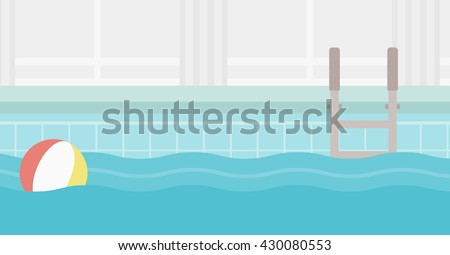 Background of swimming pool with inflatable ball vector flat design illustration. Horizontal layout. - stock vector