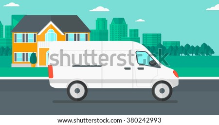 Background of the city with delivery truck. - stock vector