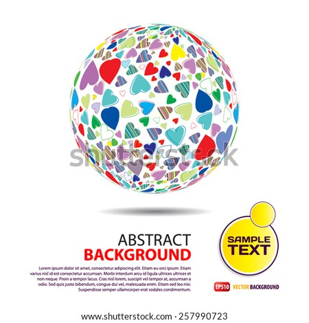 Background of the sphere with the texture of hearts with place for text - stock vector