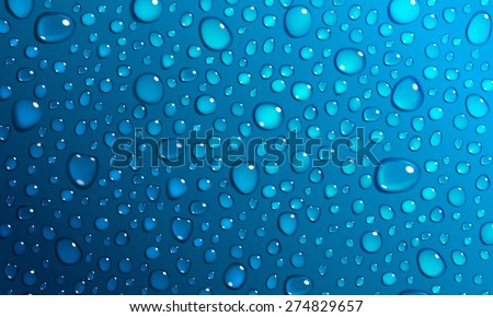 Background of water droplets on the surface in blue colors - stock vector