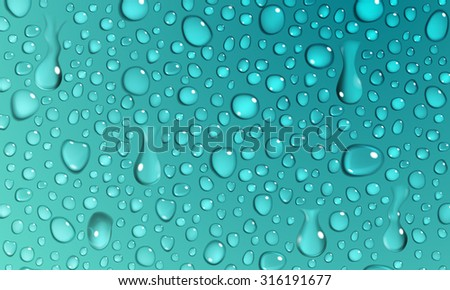 Background of water droplets on the surface in turquoise colors - stock vector